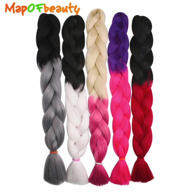 MapofBeauty, 120 см, Омбре, вязанные крючком косички, черный, серый, розовый, синтетические волосы для наращивания, огромные косички, 100 г/шт., накладные волосы