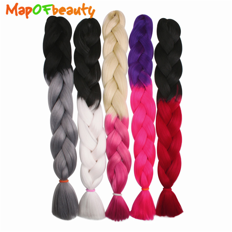 Lovely Mapofbeauty Ombre Crochet Braids Blonde Hair Extensions Jumbo Braiding 32 100g/pc Kanekalon Hair Synthetic False Hairpieces Hair Braids Hair Extensions & Wigs
