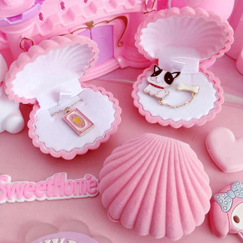Velvet Shell Shape Brooches//Pendant//Ring Box Earring Displa Storage Jewelry M3V7