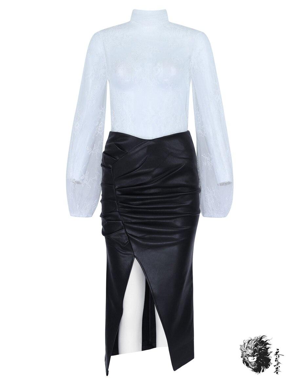Jupe Femmes Costume Dentelle Split Sexy En Tops Et Mesh Longues Club Date 2018 Set Cuir Pièces Haut Blanc Party Deux 2 De Ensemble Manches 4rfT470