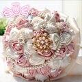 Bela Beading Cristal Da Dama de Honra Nupcial Da Flor do casamento buquê de flores artificiais buquê rosa Cristal buquês de noiva