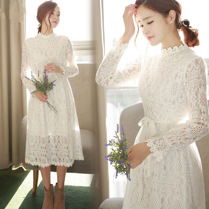 New Spring Autumn Dress Bow Full Sleeve Lace Long Dresses White 2019