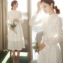 Yeni Bahar Tam Dantel Kapalı Bel Bile Clos Elbiseler Render Beyaz 2019