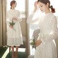 Nova Primavera Cheia Do Laço Fechado Cintura Tornar Até Mesmo Clos Vestidos Brancos 2019