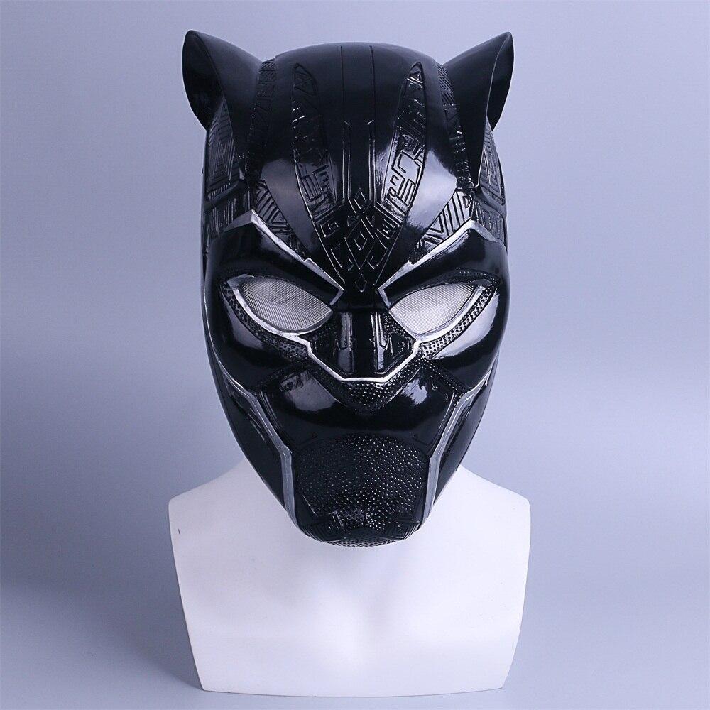 2018 New Black Panther Helmet Cosplay T'Challa Mask Costume Halloween Helmet Handmade PVC prop (3)