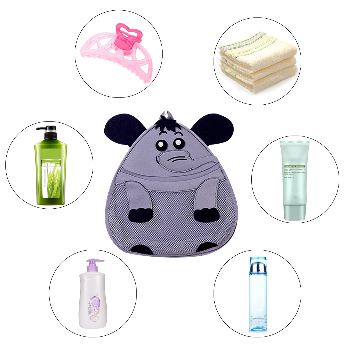 YHYS 3D Cartoon éléphant sac de rangement enfants jouet Collection salle de bain étanche le mur sac Net sac lavage fournitures organisateur