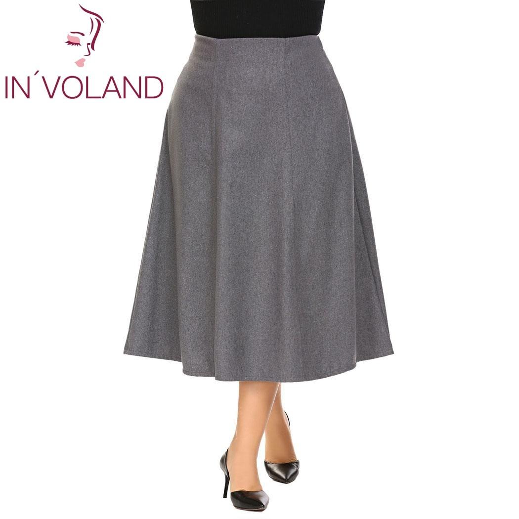 INVOLAND Big Size XL-5XL Women Warm Skirt High Waist A-line Flared Large Long Winter Fall Midi Faldas Saia Lady Jupe Plus Size