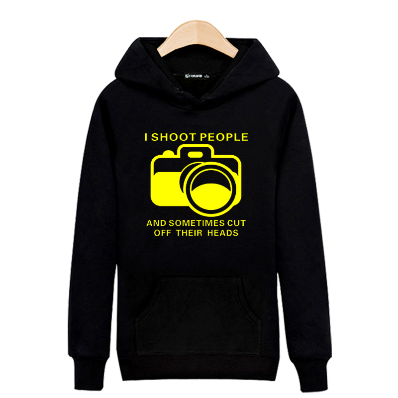 Camera with Letters Black/Gray Spring Sweatshirt Men Autumn Winter Hip Hop in High Quality Mens Hoodies and Sweatshirts 2016