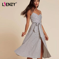 LIENZY Sexy Summer Strap Dress For Women Sleeveless Female Tops Slim Waist Stripe Party Dress Clothes