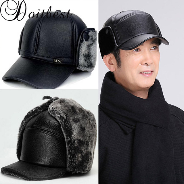 b59bf60527ad0 2018 Leather Winter fur hats Windproof Thick warm fur inside dad s Gift cap  old men s ushanka hat male Russian Earflap hat
