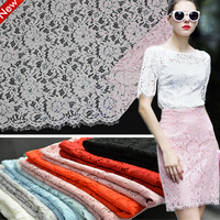 Free shipping Floral Embroidered Eyelash Lace Fabric African Guipure Cord lace Sewing Supplies for Clothes Dress