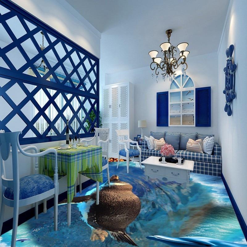 Free Shipping Penguin Dolphin 3D Sea World Flooring self-adhesive waterproof bathroom kitchen lobby bedroom wallpaper mural брюки дудочки 7 8 фланелевые