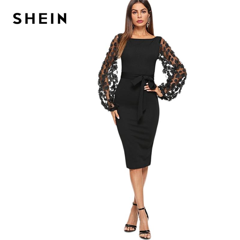 SHEIN Schwarz Party Elegante Blume Applique Kontrast Mesh Sleeve Passende Form Belted Solid Kleid Herbst Frauen Streetwear Kleider