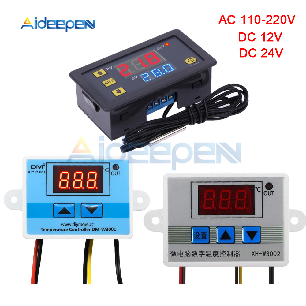 W3001 w3002 w3230 led controlador de temperatura do termostato digital ac 110 v-220 v dc12v 24 v termorregulador aquecimento controle de refrigeração