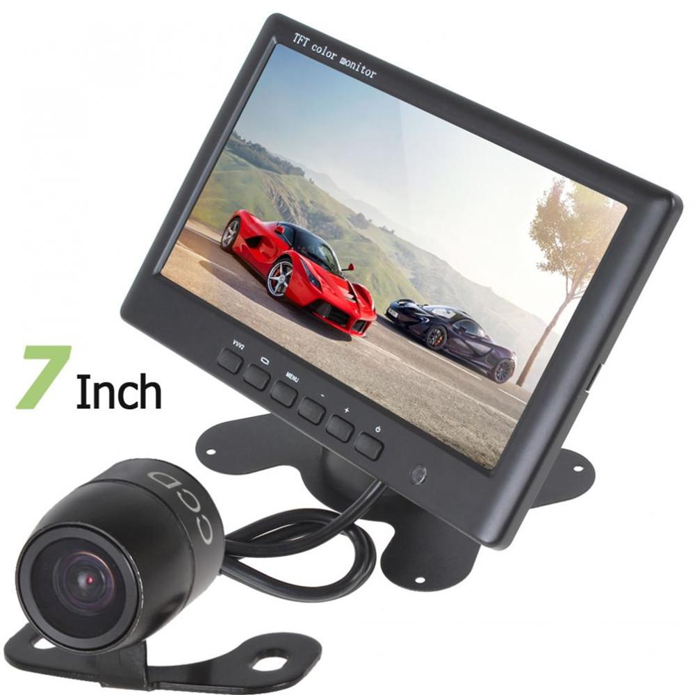 Prix pour Hot HD 800x480 Super Mince 7 Pouce Couleur TFT LCD 2 canaux D'entrée Vidéo De Voiture Arrière View Monitor + E306 18mm Couleur CMOS/CCD Caméra