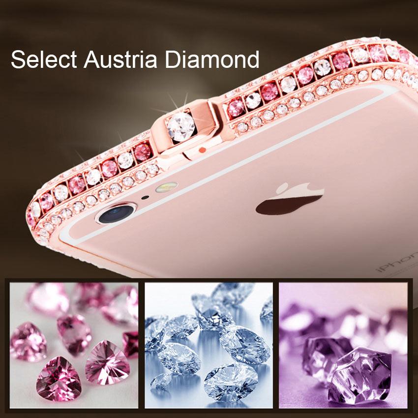 Slim Zinc Alloy Metal Color Diamond Bumper Coque Case για Apple - Ανταλλακτικά και αξεσουάρ κινητών τηλεφώνων - Φωτογραφία 2