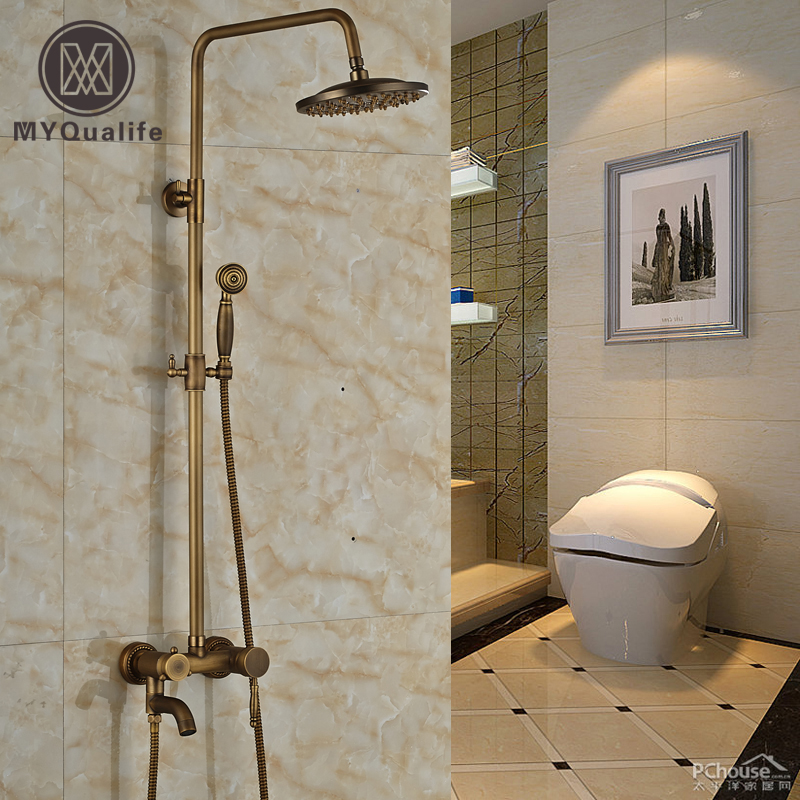 Wall Mount 8 Rain Showerhead Antique Shower Faucet Single Handle Bathroom Bath Shower Mixer Tap bathroom chrome shower faucet set with thermostatic mixer valve wall mount 8 ultrathin rain showerhead handshower
