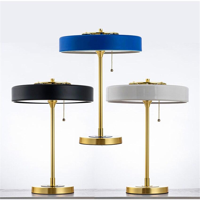 Lampe de Table américaine LED pour salon rétro Bert Frank éclairage de Table lumière plaqué or métal Fiber LED lampe de bureau interrupteur de corde