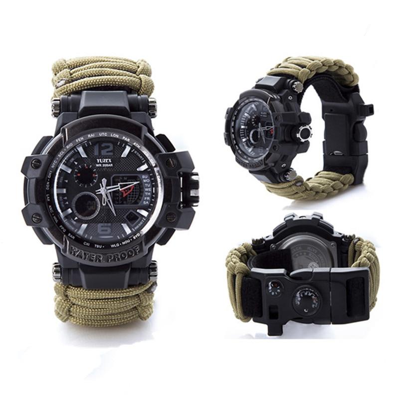 新的户外生存手表手链多功能防水50M手表男士女士露营远足军事战术露营工具(8)