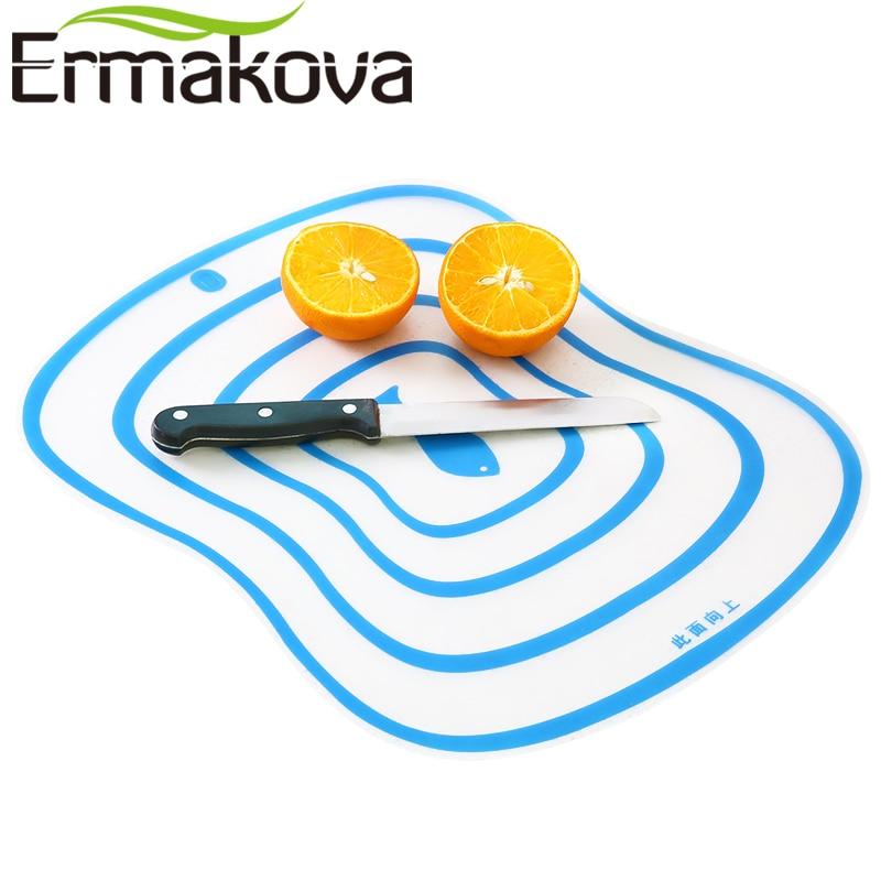 ERMAKOVA Set van 4 flexibele plastic hakblok mat kleurrijke keuken snijplank antislip antimicrobiële met voedsel pictogrammen
