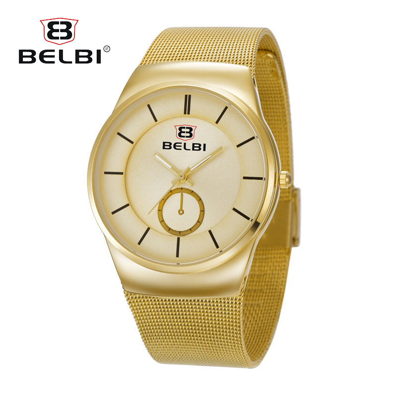 Belbi Mens Watches Top Brand Luxury Men Stainless Steel Wristwatches Business Quartz Watch Waterproof Clock Relogio Masculino
