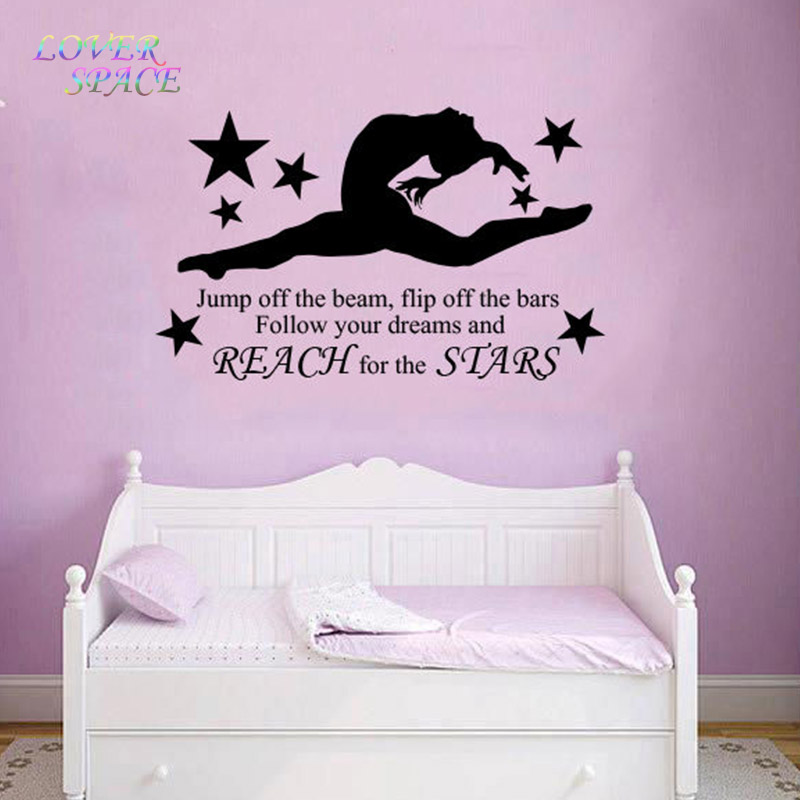 Gymnast Gymnastic Girls Bedroom Quote Vinyl Wall Art Wall Decal Mural Diy Removable Bedroom Wall Stickers