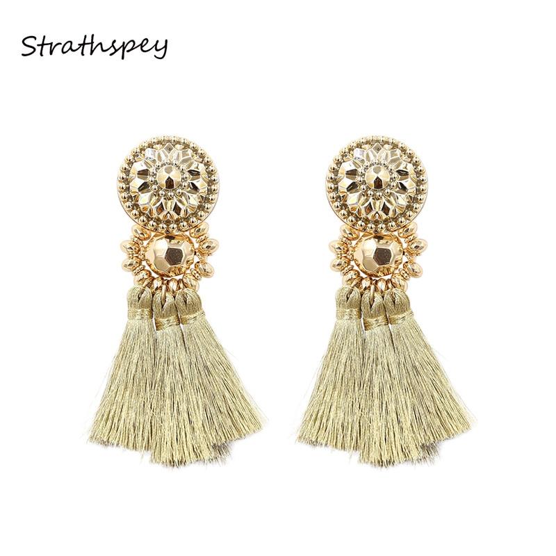 STRATHSPEY Nouveau Design Or/Argent/Or Rose/Multi Couleurs Boucles D'oreilles Bohême Perles En Plastique Avec Gland Boucles D'oreilles pour les Femmes