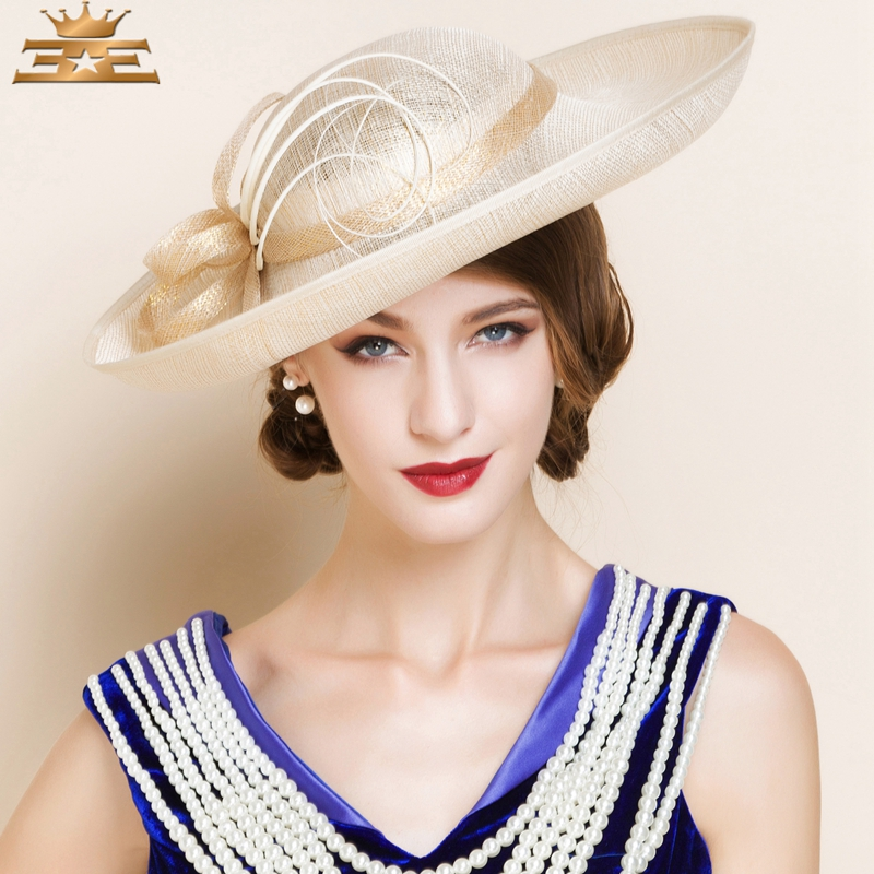3b588b52 Women's Summer new fashion dress hat for women Flax Headpiece Wedding / Special  Occasion Hats Head circumference 57cm-in Women's Fedoras from Apparel ...