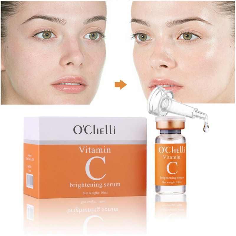 فيتامين C المصل 10 ml تبييض و مكافحة الشيخوخة تتلاشى البقع إزالة النمش مكافحة القواقع ترطيب كريم وجه