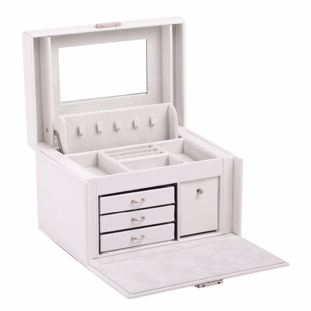 NEW Large Jewelry Box Ring Earring Velvet box Necklace Display PU Jewellery Organizer White Black Leather