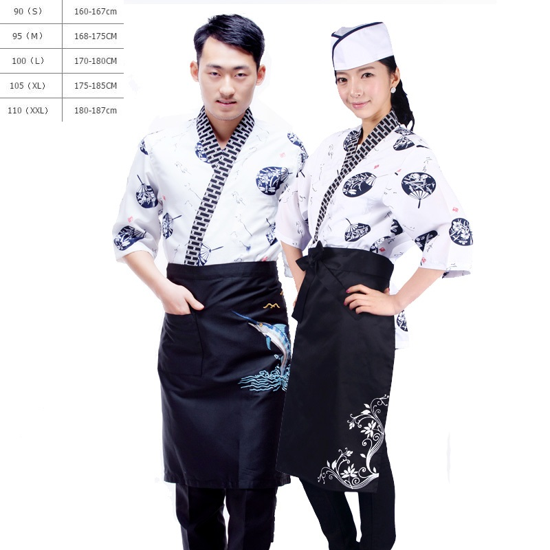 (10sets-Hat-Apron-Shirt)Japanese Chef Clothing Korean Japanese Cuisine Sushi Restaurant Kitchen Work Uniforms And Waiters