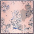 90cm*90cm European Style Oil Painting Tree Branch Printed Brand style women silk satin large square scarf