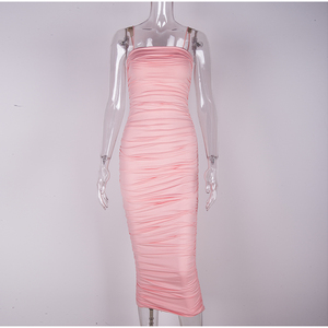 Image 4 - NewAsia 2 Layers Women Long Dress Bodycon Midi Sexy Dress Elegant Party Club Dresses Off Shoulder Ruched Pencil Dress Pink Robe