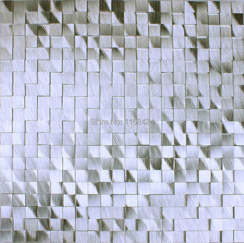 Silver 3d Aluminum Alloy Metal Mosaic Tiles Ehm1061 For Kitchen
