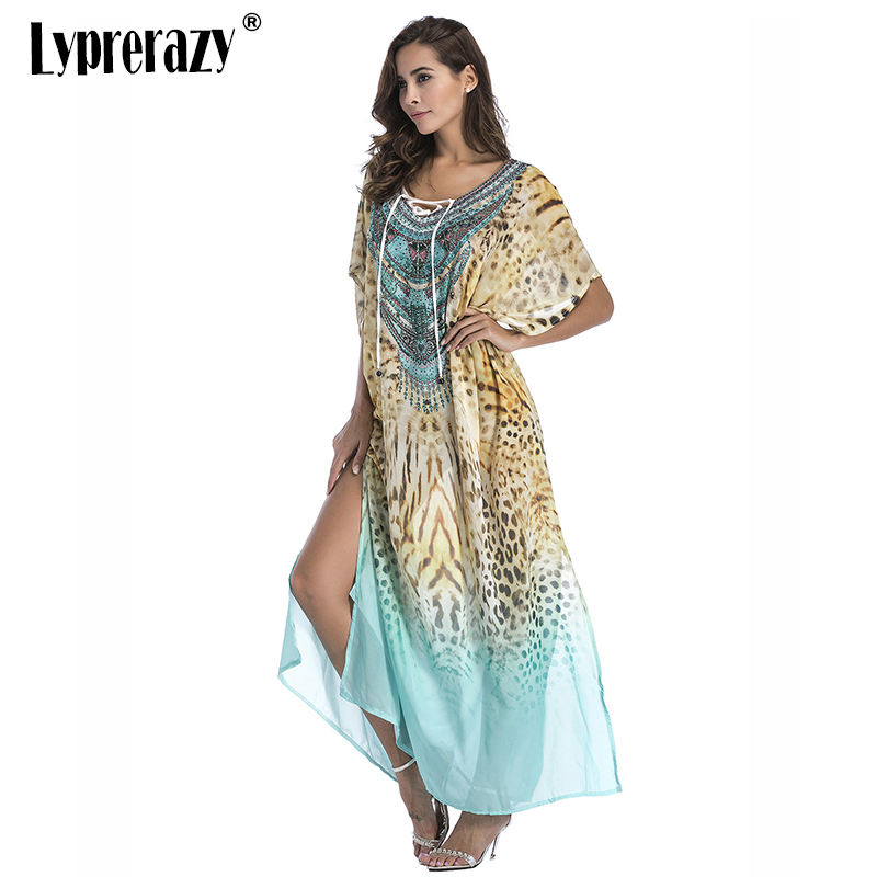 Detail Feedback Questions about Lyprerazy Boho Leopard summer sundress Beach  Sarongs large size robes women Plus size Chiffon print Bohemian long maxi  dress ... 888eb96f4141