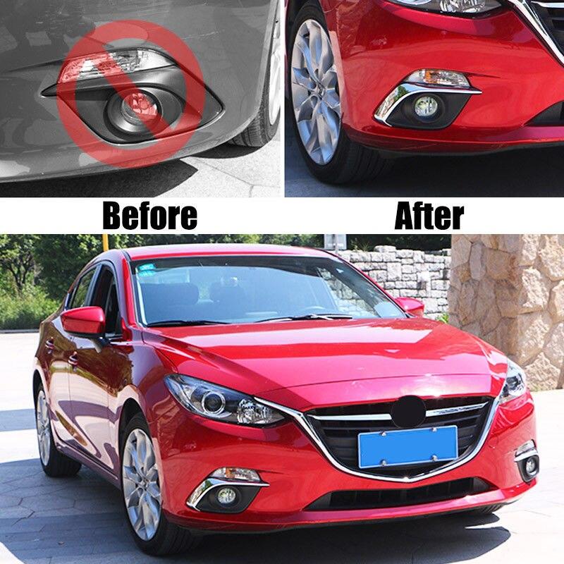 Front Fog Light Cover trim Eyebrow for 2014-2016 Mazda 3 AXELA Chrome