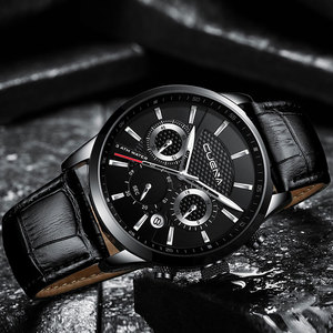Image 5 - CUENA Luxury Men Watches Leather Strap Stopwatch Luminous Hands Calendar 30M Waterproof Mens Wristwatch Quartz Male Watch Brown