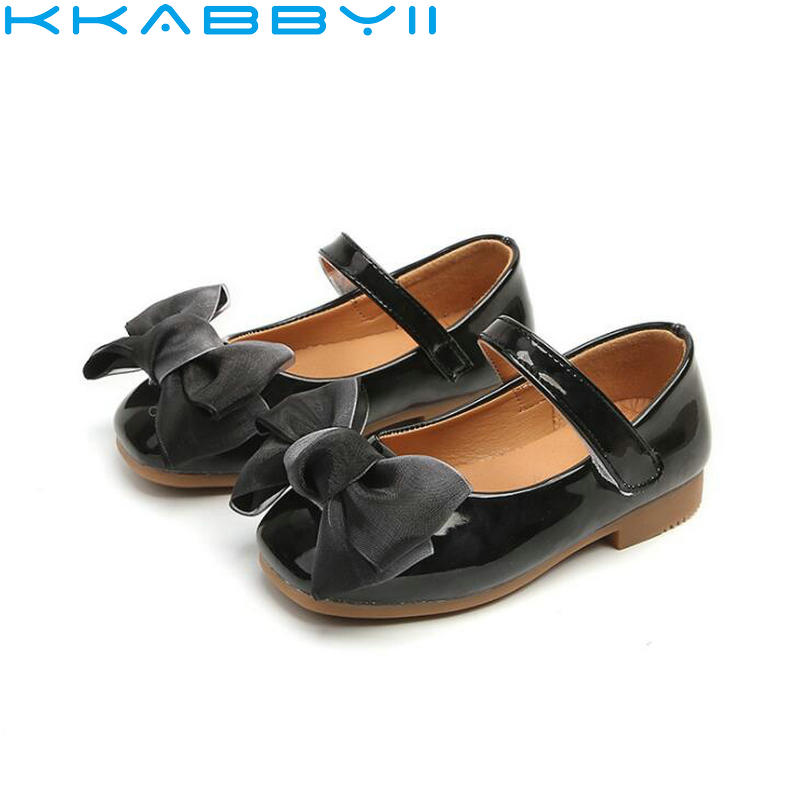 Spring Autumn New Childrens Shoes Fashion Bow Tie Girls Shoes Patent Leather Baby Shoes Kids Sapato Infantil
