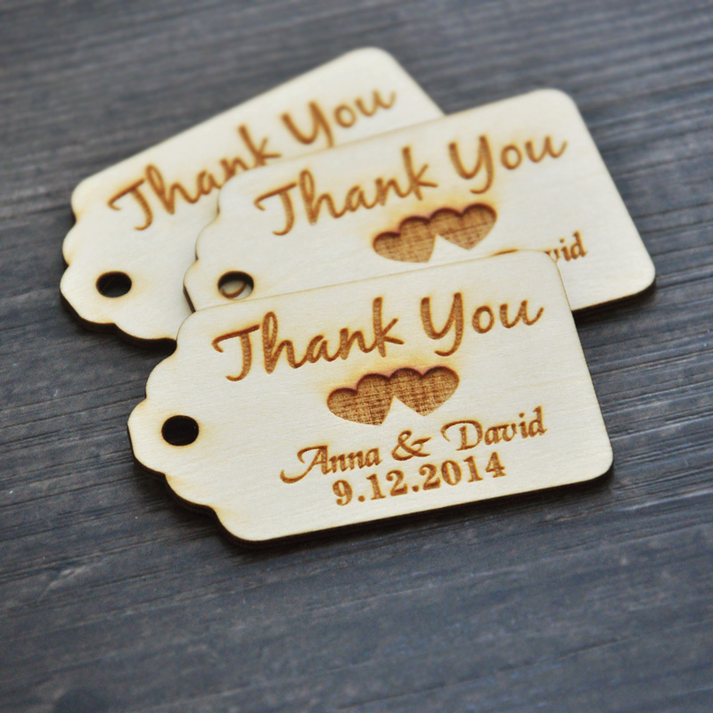 Personalized Thank You Wedding Tags Custom Engraved Wooden Tags