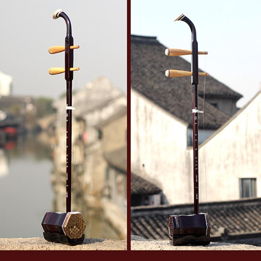 Suzhou Erhu Handmade Chinese Traditional Musical Instruments Red Wood Folk Chinese Violin String Instruments wuyue erhu chinese musical instrument 2 string erhu round pole hexagonal shape with bow