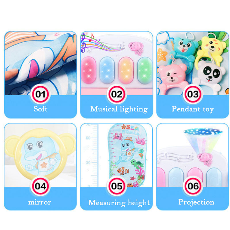 Baby Rocker Piano Music Carpet Newborn Fitness Bodybuilding Frame Pedal Rocking Chair Activity Play Education Toy