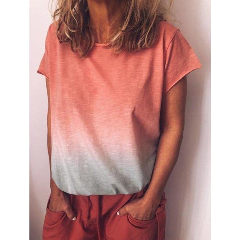 2019 feminina летние женские футболки с градиентным принтом топы женские с коротким рукавом Свободные повседневные футболки большие размеры S 5XL