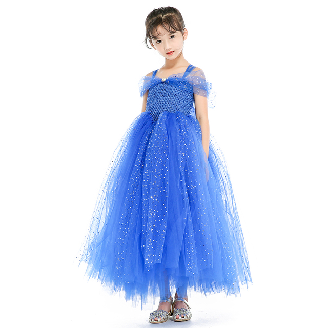Spark Shining Royal Blue Baby S Dress For Wedding Party Black Kids Christmas