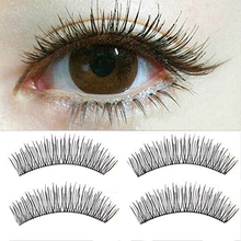 2015 New 10 Pairs Black Soft Man-made Cross  Eye Lashes Makeup Extension False Eyelashes 6FD9