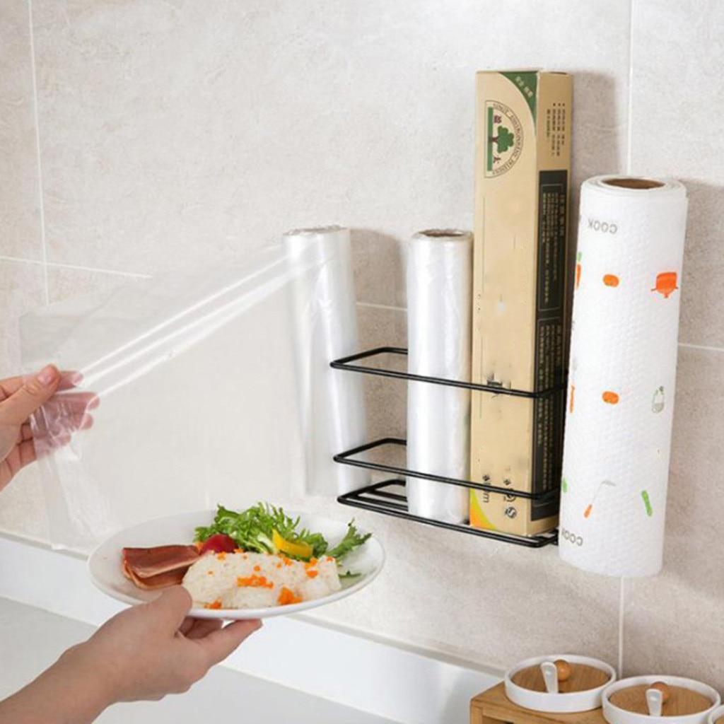 glamorous wrought iron kitchen wall shelves | Kitchen shelf plastic wrap storage rack wrought iron ...