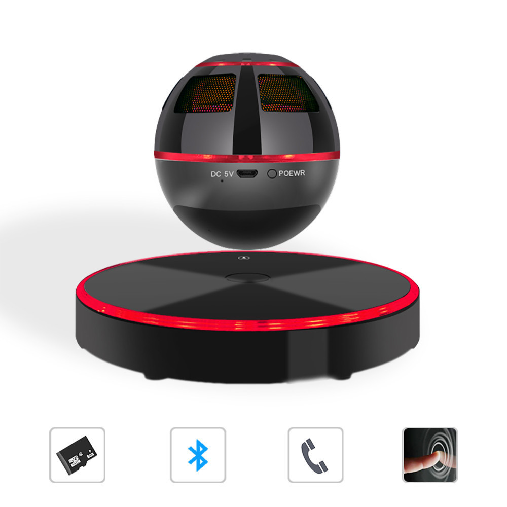 Levitating Bluetooth Speaker Portable Floating Wireless Colorful magnetic suspension 4.0 360 Degree Rotation Built-in Microphone 2017 hot levitating jh angel of music fd19 portable wb 46 wireless bluetooth speaker with microphone for iphone and pad