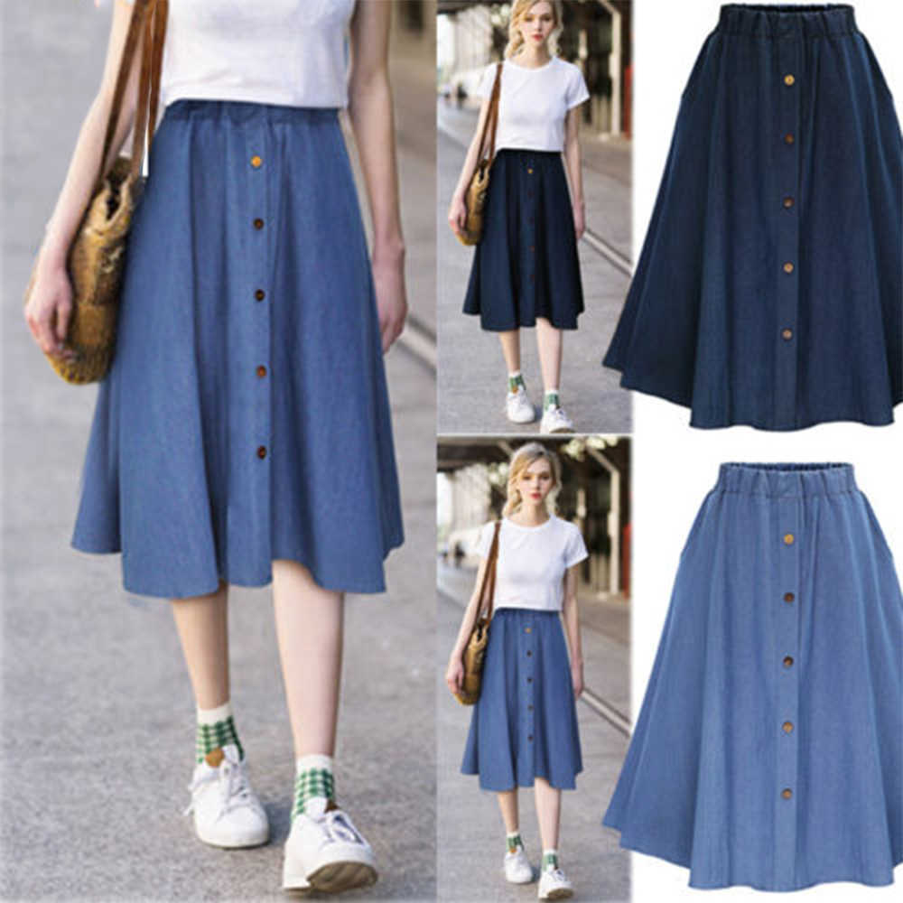 Classic Summer Denim Skirts Womens Pleated Knee Length Jeans Skirt Sweet Solid Casual Button Long Skirt Women Loose Skirts
