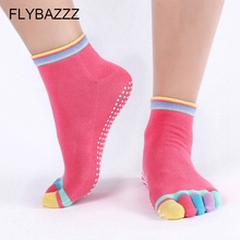 New Colorful yoga socks Women Cotton Non Slip Massage Five Toe Socks Dance Gym Sport Full Fingers Grip Short Ankle Pilates