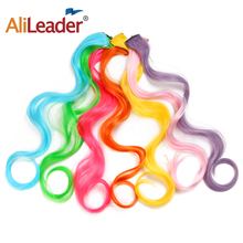 hot deal buy alileader long body wave fake colored hair extensions clip in highlight rainbow hair streak ombre pink synthetic hair on clips