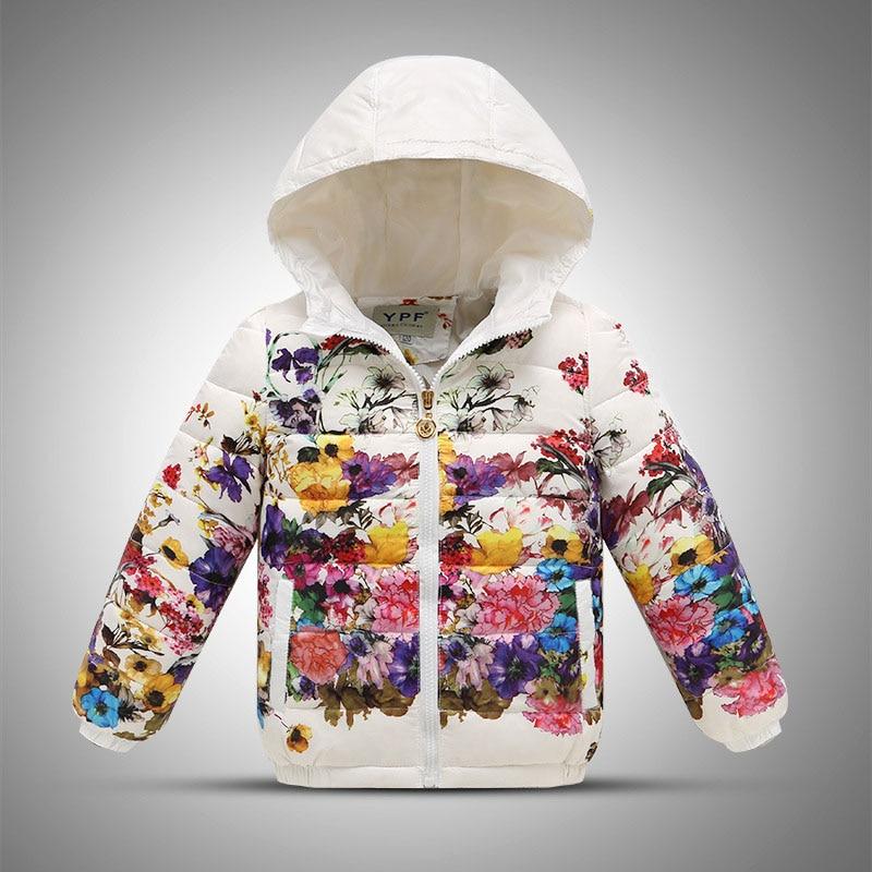 ФОТО 2016 girls warm coat baby floral hooded down jacket kids winter long sleeve flower jacket girls christmas outwear&coat